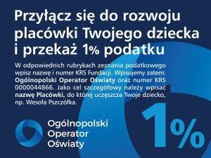 Przyłącz się do rozwoju placówki Twojego dziecka i przekaż 1% podatku.